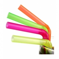 Трубочки кокт.0,8*24 см. 500 шт. цветные с гофрой Джамбо
