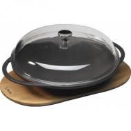 """Сковорода чугун d=280мм. черная, на подставке, крышка стекло """"ECO"""" LAVA"""