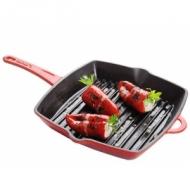 Сковорода-гриль 260х26 см. доп.ручка, чугун, красная LAVA