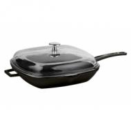 Сковорода чугун 260х260мм. чёрная, ручка металл, крышка стекло LAVA