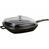 Сковорода чугун 280х280мм. чёрная, ручка металл, крышка стекло LAVA