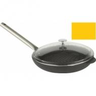 Сковорода-гриль d=300мм. чугун, оранжевая, ручка металл с крышк.LAVA