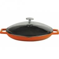 Сковорода чугун d=300мм. оранжевая, крышка стекло LAVA