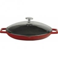 Сковорода чугун d=300мм. красная, крышка стекло LAVA