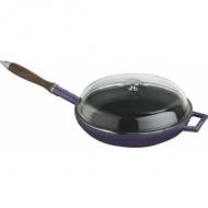 Сковорода чугун d=240мм. черная, ручка дерево, крышка стекло LAVA