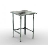 Стол для сбора отходов  600х700х870 без борта, каркас-нерж труба 40х40