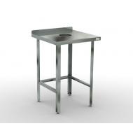 Стол для сбора отходов  600х700х870 с бортом, каркас-нерж труба 40х40