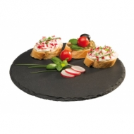 Блюдо для подачи круглое d=22 см черное, сланец APS