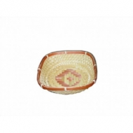 Корзина для хлеба квадрат. 17х17х5,5 см. корич.-бел.