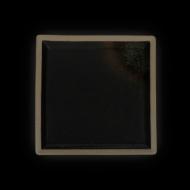 Тарелка квадратная 200 мм черная с зеленым Сorone Rustico