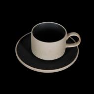 Чайная пара 265 мл бежевый с черным Сorone Rustico