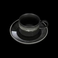 Чайная пара 265 мл черный с белым Сorone Rustico