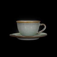 Кофейная пара 100 мл серый+зеленый Corone Tesoro