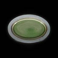 Блюдо овальное декоративное 330х230 мм серый+зеленый Corone Tesoro