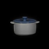 Горшок с крышкой 450 мл серый с синим «Corone»