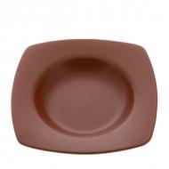 Тарелка керам. квадратная глубокая 21,5х21,5 d15  ELGAVA Brown