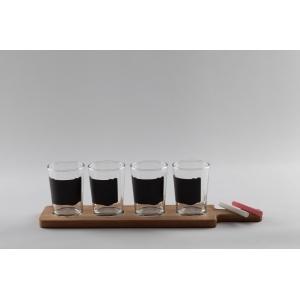 Набор для дегустации пива: доска + 4 стакана 197мл. d=70, h=95 мм со стикерами+ мел /1/