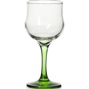 Бокал для вина 200 мл. d=71, h=156 мм. закален. зел. ножка Энжой Б /24/720/