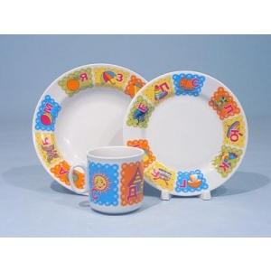 Набор посуды 3 пр предмета фарфор Азбука