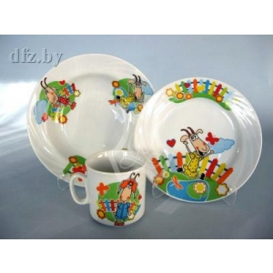 Набор посуды 3 предмета фарфор Козлятушки-ребятушки