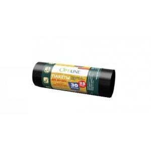"""Мешок для мусора 30л (25шт.) 50*60 см. 10 мкм черный """"OptiLine"""" /1/1750/"""
