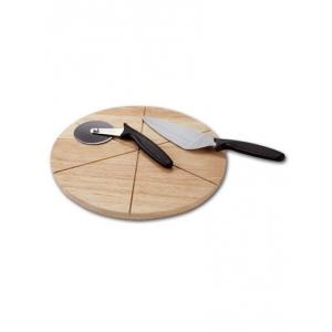 Доска для пиццы d=330*12 мм. на 6 сегментов, бамбук