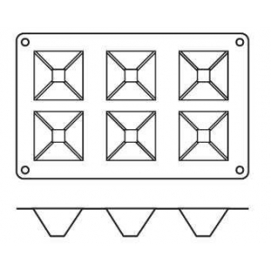 "Форма сил.для зам.и вып. ""Пирамида"" 6 порц. d=71*71 h40 мм."