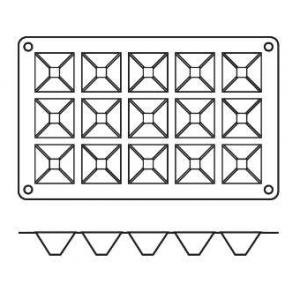 "Форма сил.для зам.и вып. ""Пирамида"" 15 порц. d=36*36 h=22 мм."