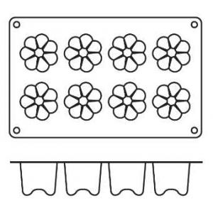 "Форма сил.для зам.и вып. ""Цветы"" 8 порц. d=57 h=57 мм."