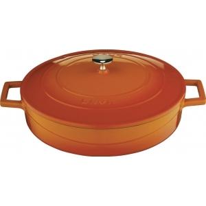 """Кастрюля 2,4 л. чугун d=24 см. оранжевая, низкая """"FOLK"""" LAVA"""