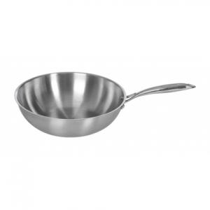 Сковорода WOK d=300/90 нерж. тройное плоское дно с ручкой Luxstahl