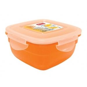 Контейнер для пищ. продуктов квадр. 0,6 л 13*13*7см п/п оранжевый /30/