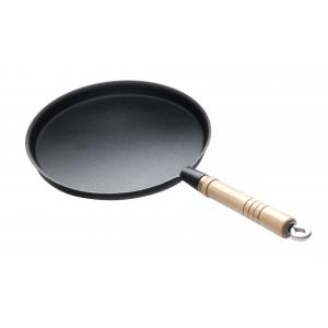 Сковорода чугун d=240мм. h=15мм. блинная с деревян. ручкой Luxstahl