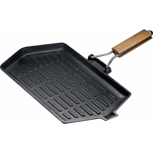 Сковорода-гриль 350х210мм. чугун  рифленая с деревян. ручкой чугун Luxstahl