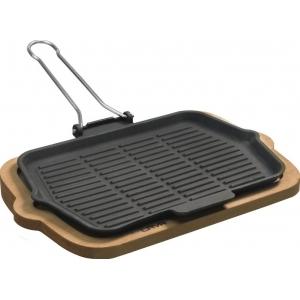 "Сковорода-гриль 210х300мм. чугун, черная, на подставке ""ECO"" LAVA"