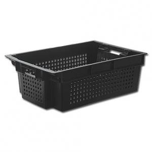 Ящик 600*400*200 мм. для овощей конусный, перфорир. (черный)
