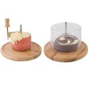 Нож для твердых сыров и шоколада на дерев. подставке d=22 см. с крышк. APS