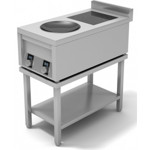 Плита индукционная 2-х конфорочная ИПК-210114 плоская и ВОК 400х760х400 мм
