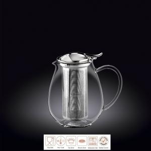 Чайник заварочный 600 мл короткий носик, с откидной крышкой и колбой нерж. Thermo Glass Wilmax