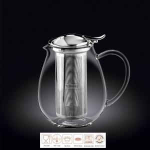 Чайник заварочный 1300 мл короткий носик,с откидной крышкой и колбой нерж. Thermo Glass Wilmax
