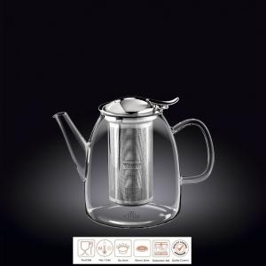 Чайник заварочный 600 мл с откидной крышкой и колбой нерж. Thermo Glass Wilmax