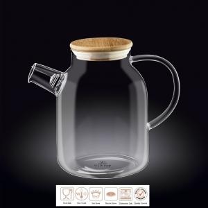 Чайник заварочный 1700 мл. термо стекло с дерев. крышкой Thermo Glass Wilmax