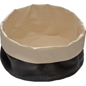 Корзина для хлеба круглая 17х8 см. хлопок, бежево-черный APS