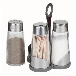 Набор для специй 2 пр. (соль, перец, зубочистки) на пластиковой подставке Luxstahl [923]