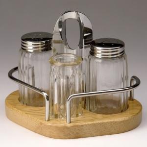 Набор для специй 3 пр. (соль, перец, зубочистки) на деревянной подставке Luxstahl [1003]