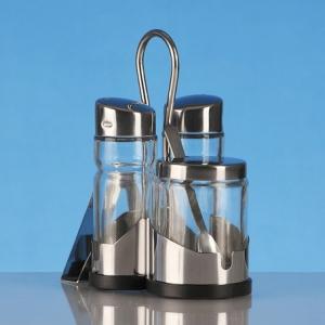 Набор для специй 3 пр. «Family» (соль, перец, горчичница) + салфетница Luxstahl [758N]