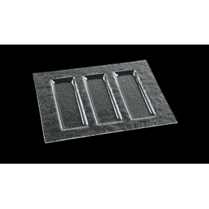 Тарелка 230*300 мм. 3-х секционная прозр. стекло 3D