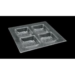 Тарелка квадрат l=300*300 мм. 4-х секционная прозр. стекло 3D