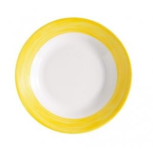 Тарелка глубокая d=225 мм. суповая желтый край Браш /6/