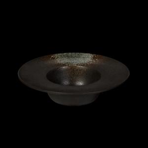 Тарелка для пасты 230 мм черная с зеленым Сorone Rustico